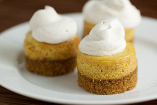 Mini Pumpkin Cheesecakes with Cinnamon Whipped Cream Topping | pinchmysalt.com
