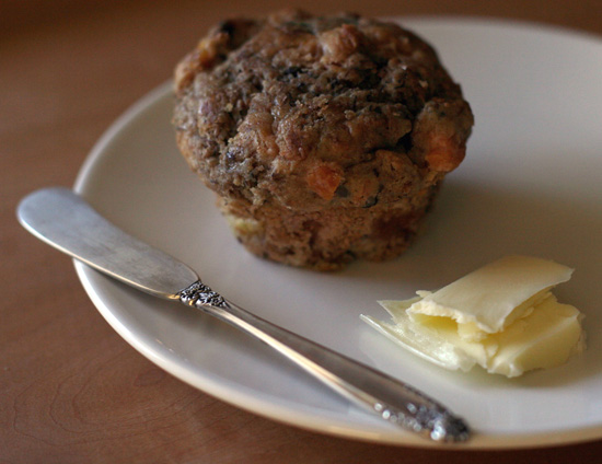 Banana Peach Bran Muffin with Butter | pinchmysalt.com