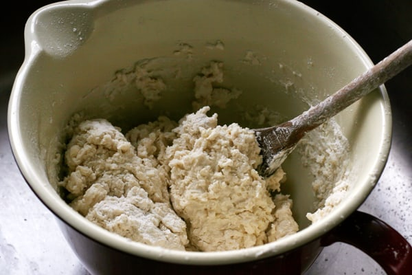 Buttermilk biscuit dough being mixed | pinchmysalt.com