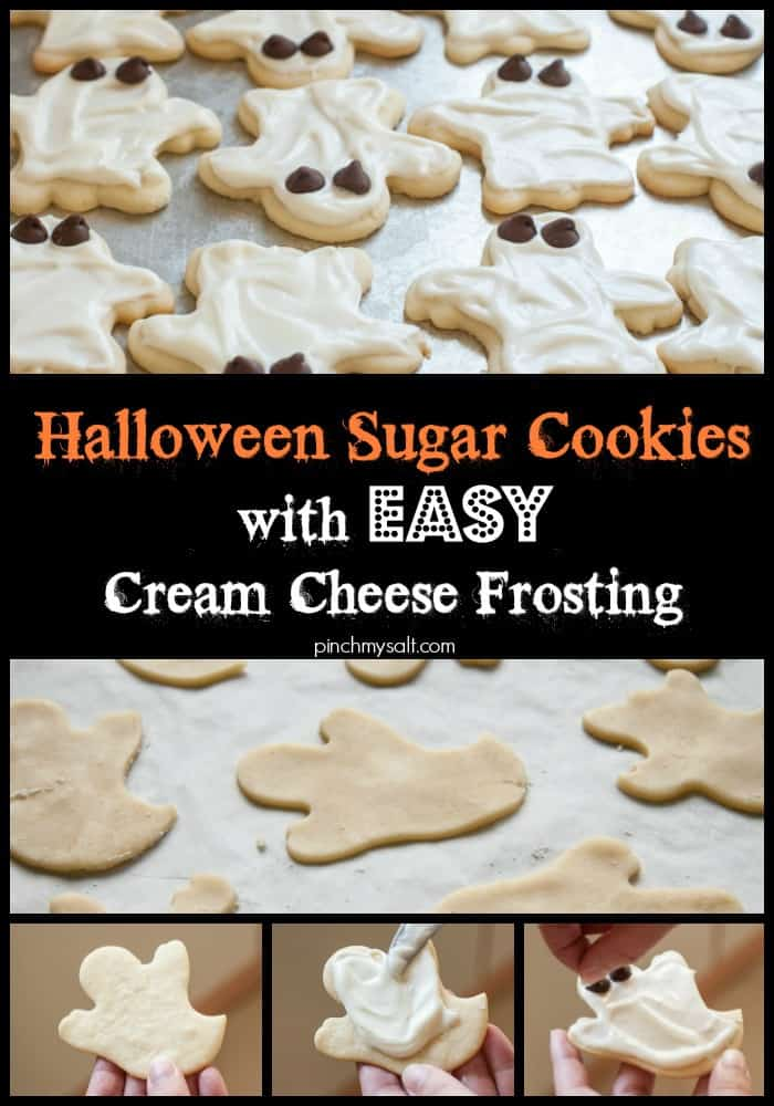 Halloween Ghost Sugar Cookies with Cream Cheese Frosting - Pinch My ...