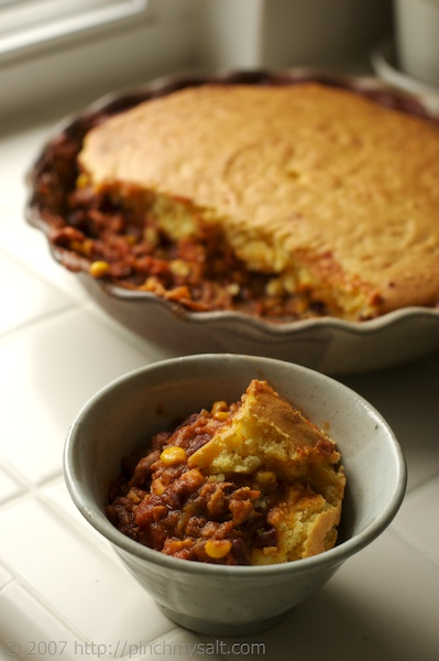 Vegetarian Chili Pie with Cheddar Cornbread Crust