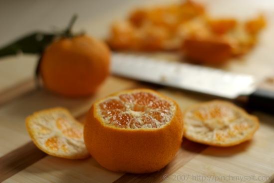 Cut ends off Tangerine