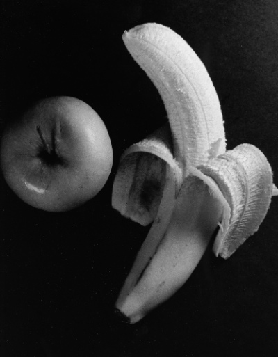 Black and White Banana and Apple