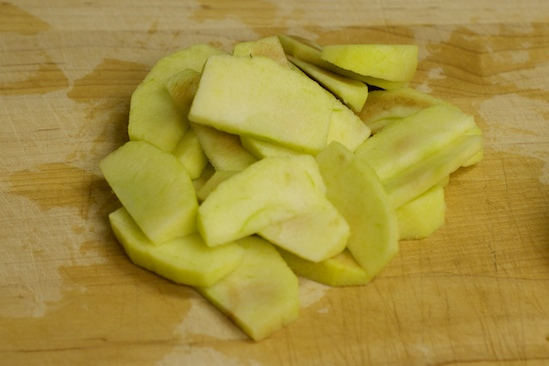And now you've peeled, cored, and sliced one apple. Only a few more to go!