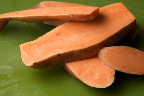 Cut the sweet potatoes lengthwise into 1/2 inch slices.