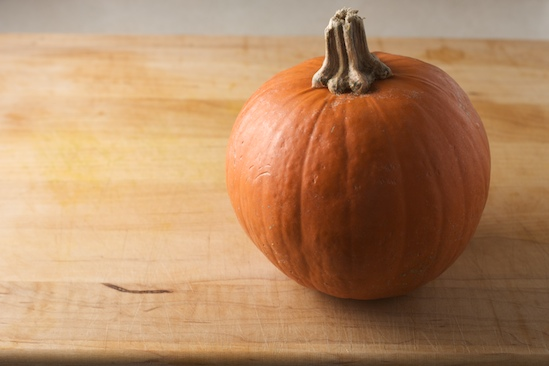 This sugar pumpkin was intended for a pie, but we're happy he ended up on the grill instead!
