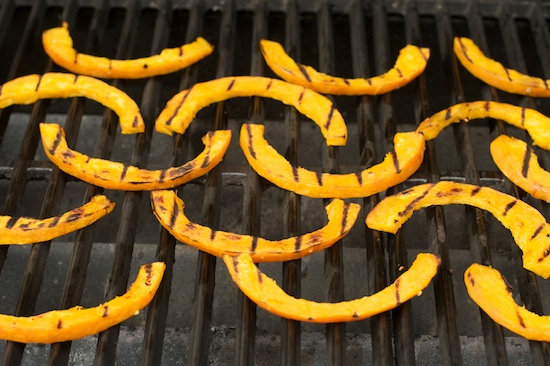 To get decent grill marks on a gas grill, make sure you preheat it while you're preparing the pumpkin.