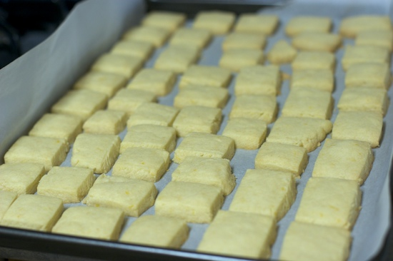 The thinner squares baked for 20 minutes at 325 degrees.  We removed them when the bottom edges were just starting to color.