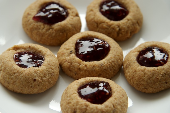 Whole Wheat Raspberry Almond Thumbprint Cookies Recipe Pinch My Salt