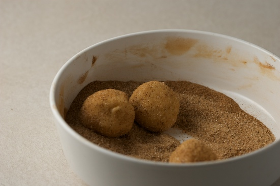 Roll the balls of dough around until they are fully coated with the cinnamon-sugar mixture.