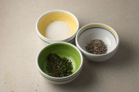 Get your seasonings ready.  You'll need chopped fresh thyme, salt (preferably kosher), and fresh ground black pepper.