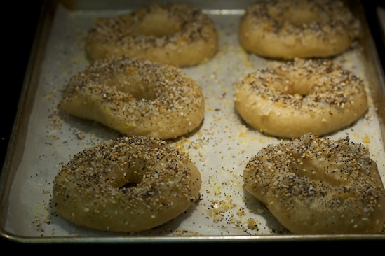 Sprinkle Wet Bagels with Desired Toppings