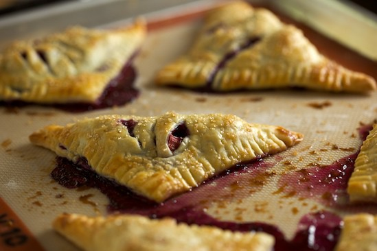 Rhubarb Blueberry Turnovers Fresh Out of Oven
