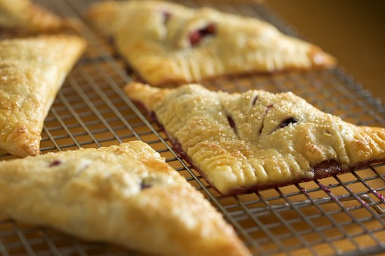 Rhubarb Blueberry Turnovers on Cooling Rack