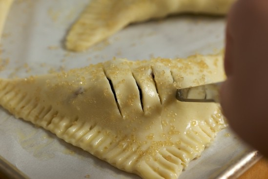 Cutting Slits in Rhubarb Blueberry Turnovers