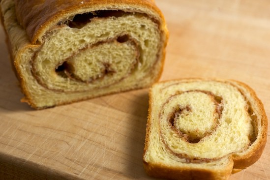 Sliced Cinnamon Swirl Brioche Loaf