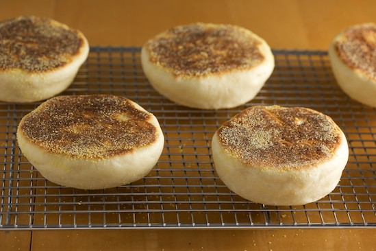 English Muffins Cooling on Rack
