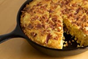 Skillet Cornbread with Fresh Cut Corn and Bacon | pinchmysalt.com