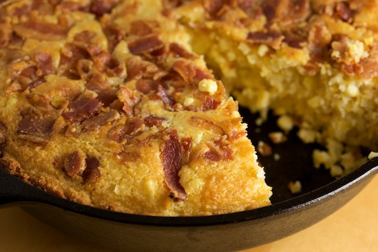 Sweet Skillet Corn Bread with Bacon and Fresh Cut Corn - Pinch My Salt