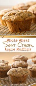 Whole Wheat Sour Cream Apple Muffins | pinchmysalt.com