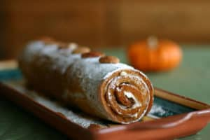 Pumpkin Roll - a rolled pumpkin sponge cake filled with sweetened cream cheese | pinchmysalt.com
