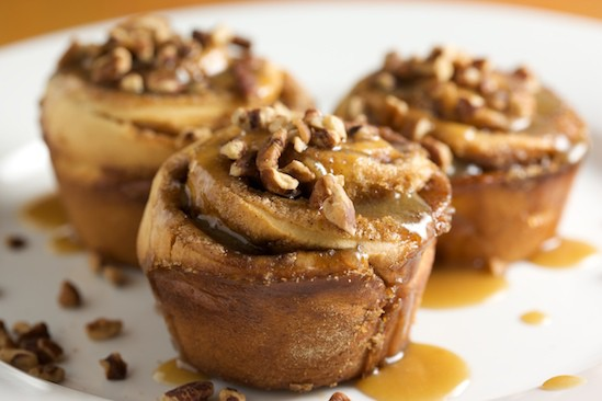 Cinnamon Bun with Butterscotch Sauce and Pecans