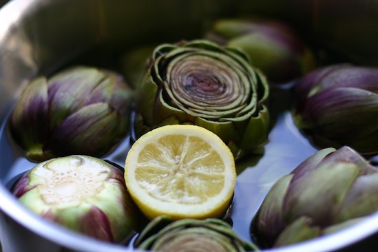 Artichokes and Lemons in a Pot