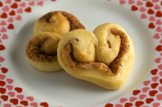 Heart-Shaped Cinnamon Rolls on a Plate