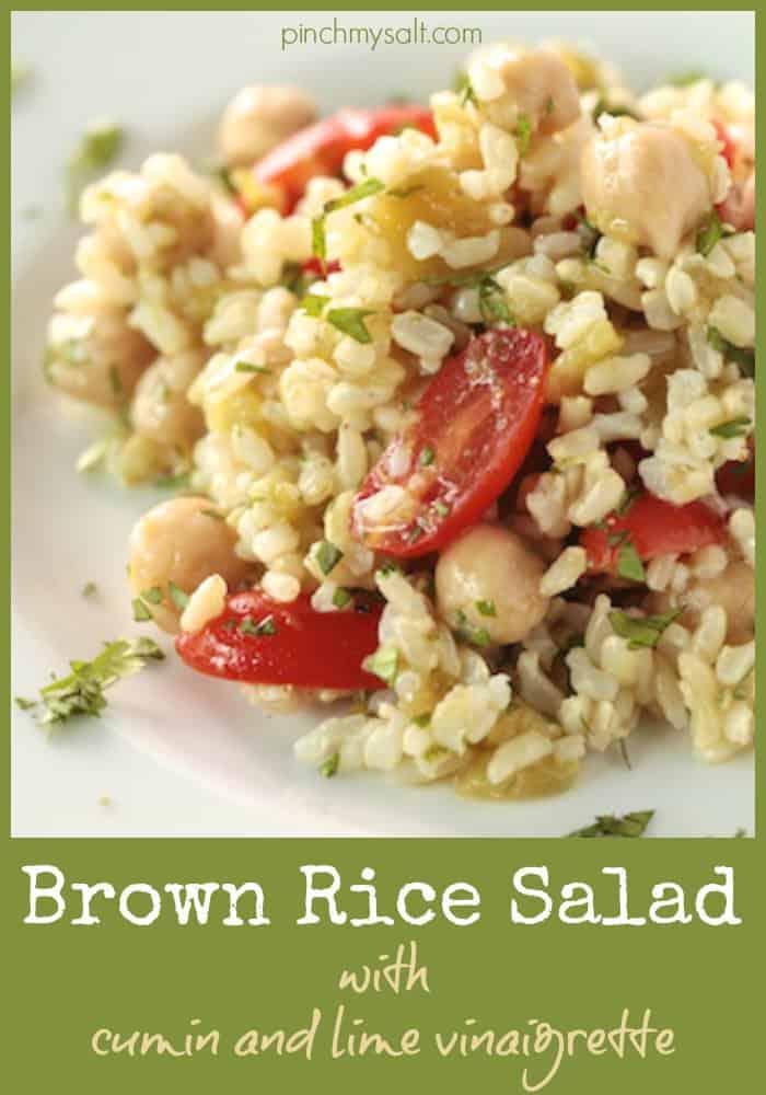 Brown Rice Salad with Cumin and Lime Vinaigrette   pinchmysalt.com