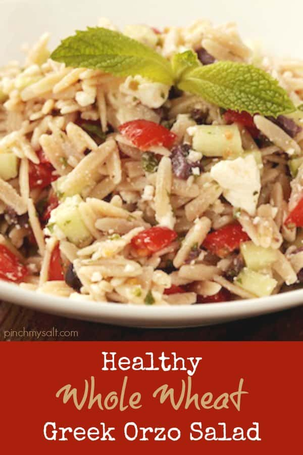Healthy whole wheat Greek orzo salad recipe | pinchmysalt.com