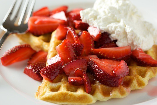 Fresh Strawberry Waffle with Whipped Cream