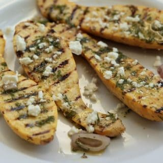 Grilled Yellow Squash with Fresh Dill Vinaigrette and Feta