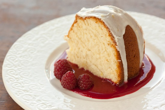 Lemon Pound Cake with Raspberry Sauce