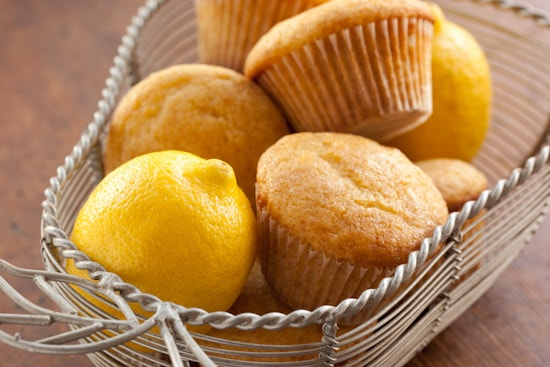 Honey Lemon Olive Oil Muffins in Basket