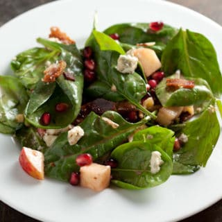 Fall Fest: Spinach Pomegranate Salad with Apples and Walnuts