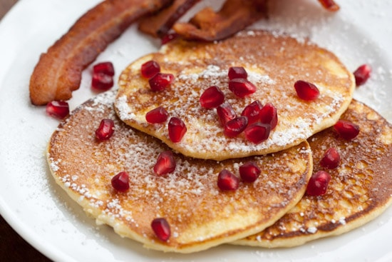 Light and Fluffy Lemon Pancakes with Pomegranate Arils and Bacon