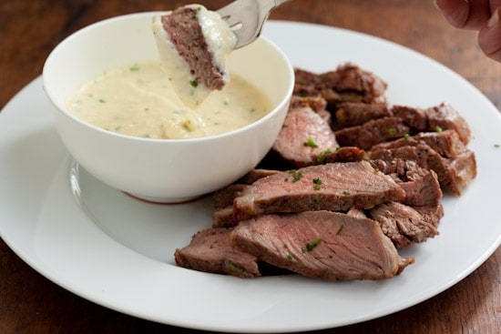 Grilled Rib Eye with Havarti Horseradish Fondue