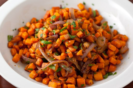 Sweet Potato Hash with Cumin and Red Onion - Pinch My Salt