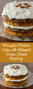 Pumpkin Praline Cake with Whipped Cream Cheese Frosting | pinchmysalt.com