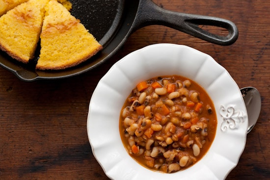 Smoky Spiced Black-Eyed Peas and Skillet Corn Bread