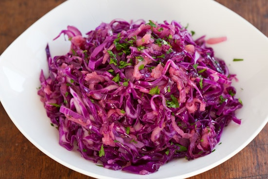 Warm Red Cabbage Slaw with Caraway Seeds