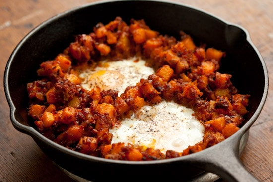 Butternut Squash Hash with Mexican Chorizo and Eggs