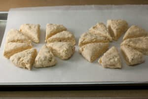 Unbaked Scones on Parchment Paper
