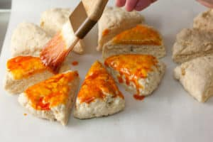 Brushing Scones with Smoked Paprika Butter