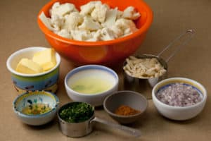 Prepped Ingredients for Cauliflower with Curry Butter and Almonds