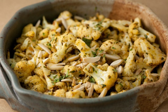 Steamed Cauliflower with Curry Butter and Toasted Almonds