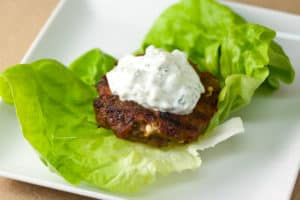 Spiced Turkey Burger with Green Olives and Feta