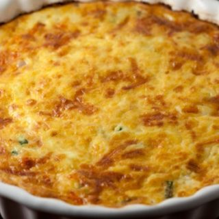 Crustless Ham and Asparagus Quiche with Gruyere Cheese