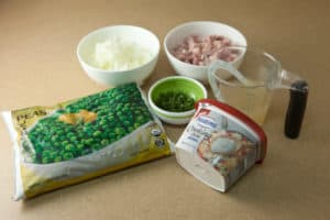 Creamy Peas with Ham and Mint Ingredients