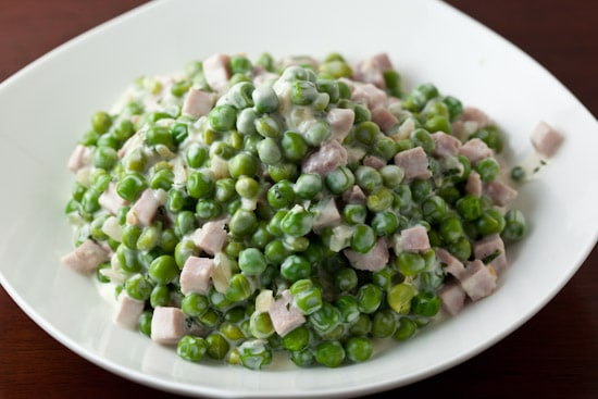 Creamy Peas with Ham and Mint